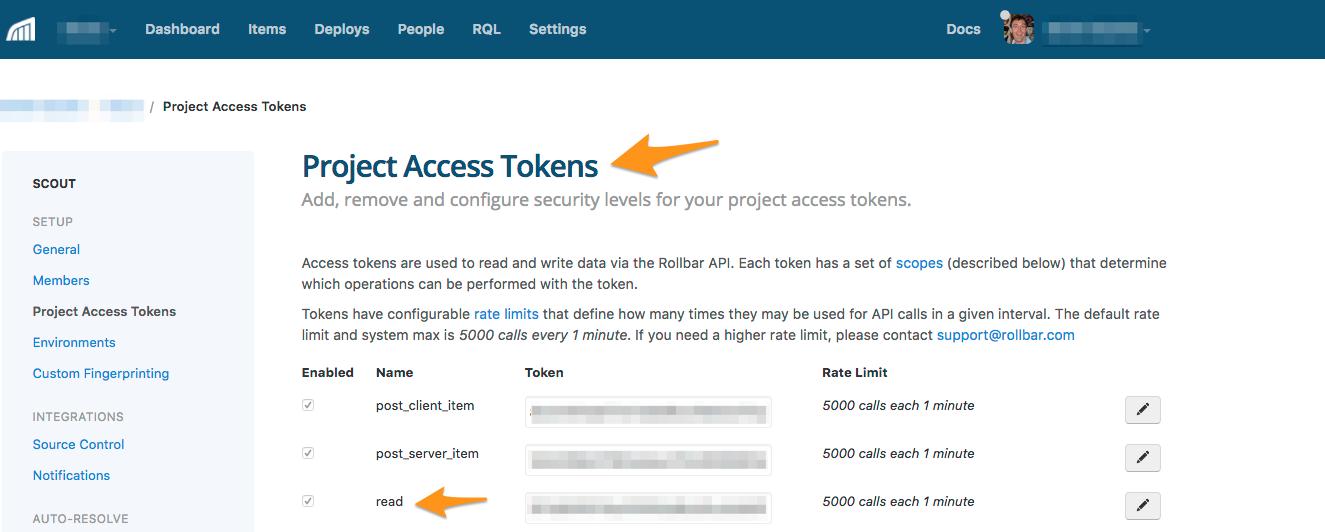 rollbar access token