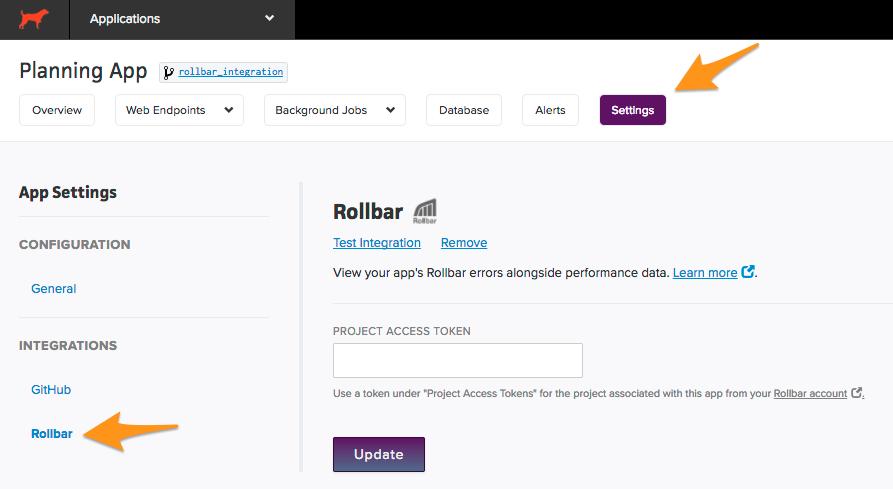 rollbar settings