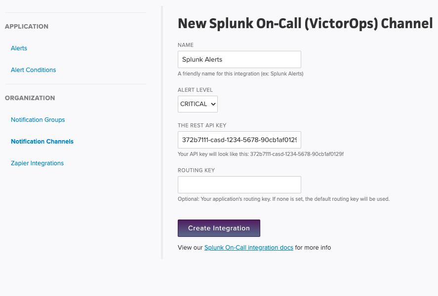 Create Splunk On-Call Integration
