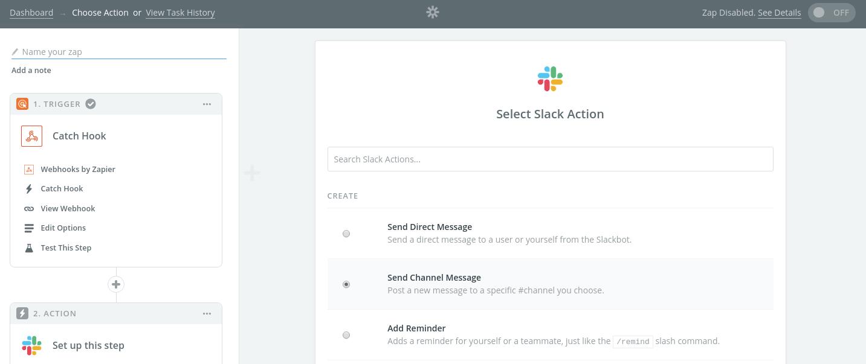 Select a Slack Action